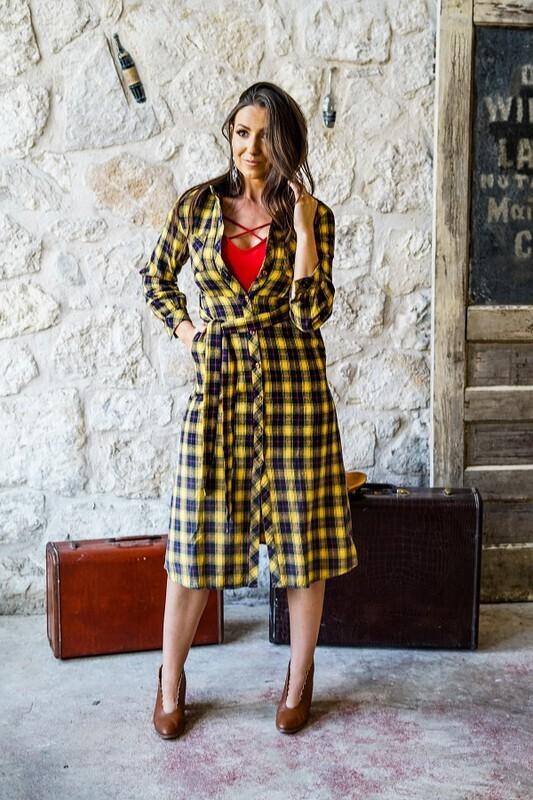 Women Plaid Maxi Dress