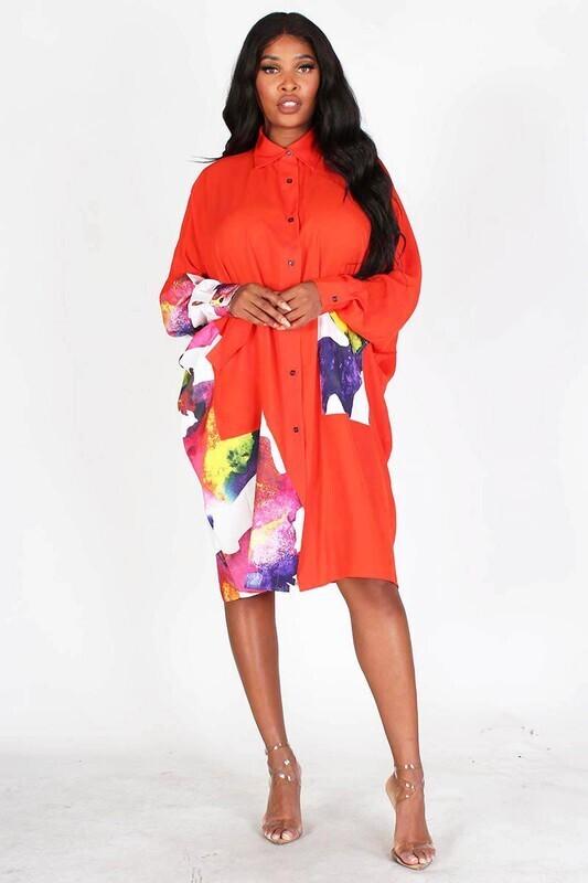 Women OVER SIZED T SHIRT DRESS W/FLORAL PRINT