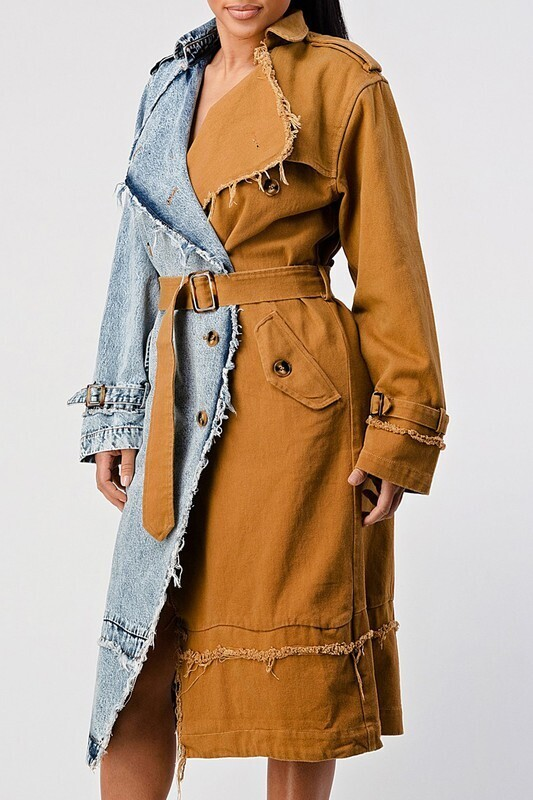It's Cold Outside ColorBlock Trench Coat with Belt