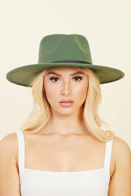 Women Thin Faux Leather Strap Fedora Fashion Hat