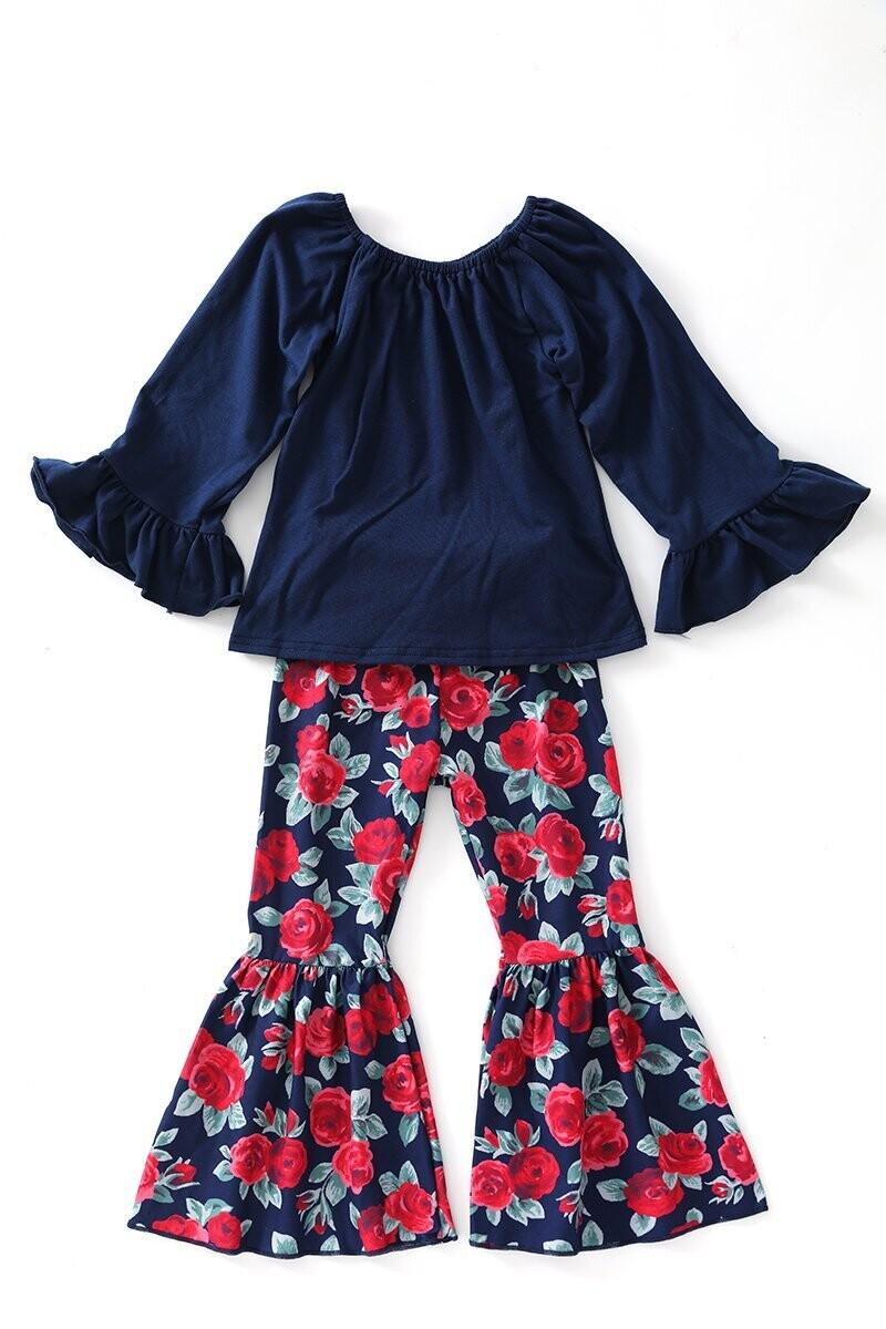 Girls Top & Floral Lace Bell Pants Set