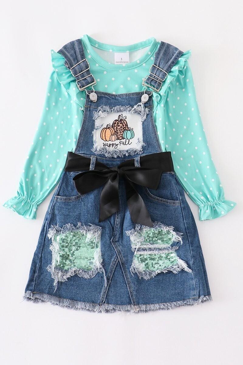 Girls Top & Denim Overall Skirt Set