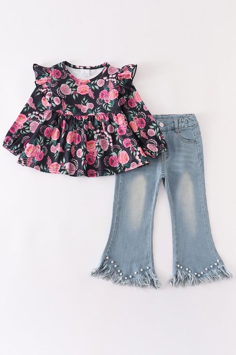 Girls Floral Top & Bell Denim Pants Set