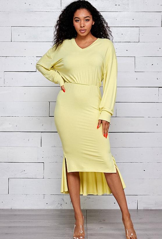 Women HIGH-LO  WITH SIDE SLIT ELASTIC WAIST Dress