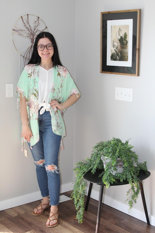Lightweight Floral Tassel Kimono