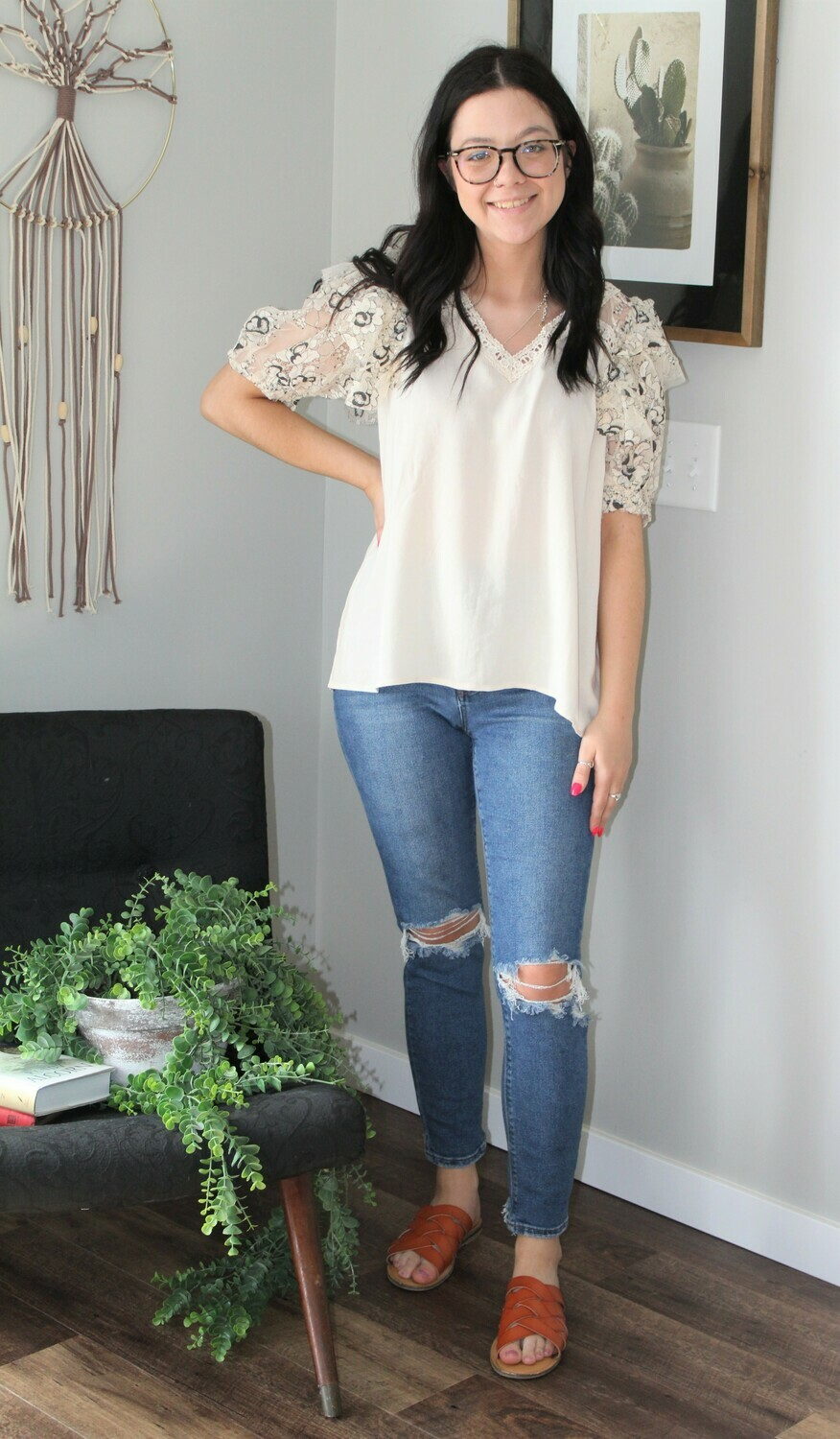 Umgee SS Linen Lace