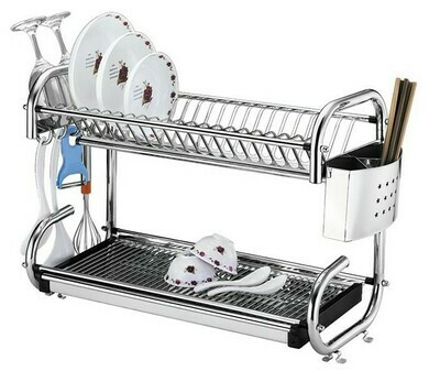 2 Tier Stainless steel Dish Rack With Spoon Drainer