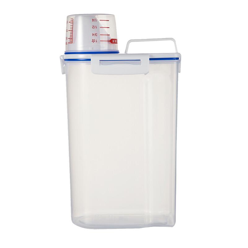 2KG Lockable White Transparent Plastic Dry Food Container Storage
