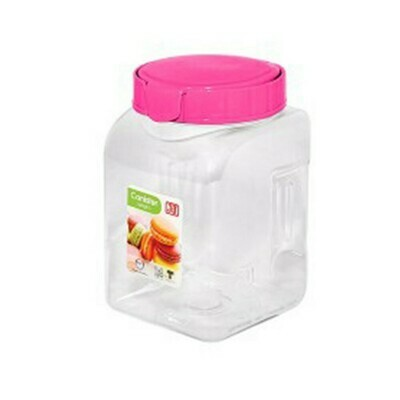 Plastic Food Canister 1050Ml. Ideal for food storage. pink or white lid #8123
