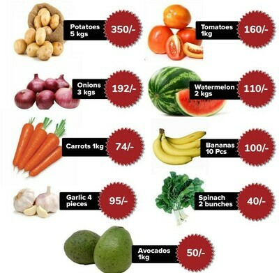 Fruits and Vegetables Value Pack: Potatoes Tomatoes Onions Water Melon Carrots Ripe bananas Garlic Spinach Avocado