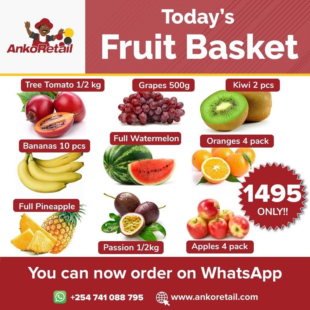 Fruit Basket @ 1495: Tree tomato 1/2 kg, grapes 500g, kiwi fruit2pcs, 10 ripe bananas, full water melon, 4 imported oranges, 4 apples, 1 pineapple, passion fruit 1/2kg.
