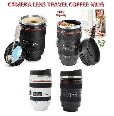 CAMERA LENS TRAVEL OR LUXURY PICNIC MUG 380ml. Comes in black or white with lid