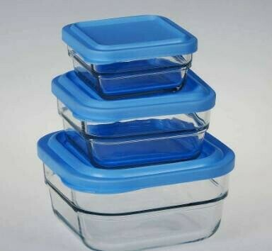 3pc Pasabahce Gourmet Food Storage Glass Container