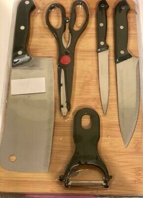 6 piece kitchen set/knife, set of knive, scissors with a chopping board