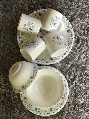 RedBerry 16pc Dinner set white with blue flowers