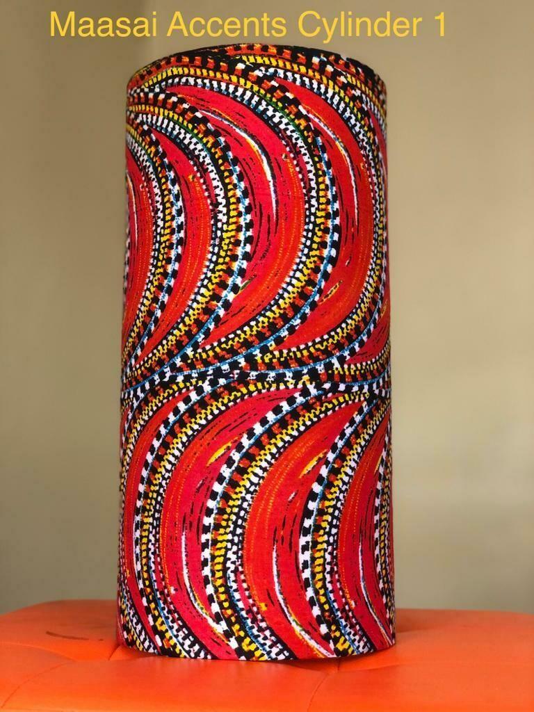 Maasai art themed lamp shades by Maasai accents-cylinder shape