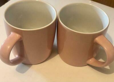 Ceramic Mugs Pink & White( Set of 6)