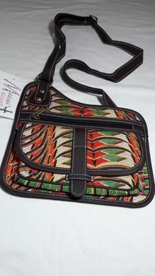 Maasai Accents®, Abstract Shompole beadwork print on Polyester Canvas, Cross Sling bag