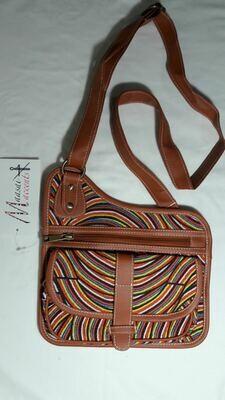 Maasai Accents®, Kitenkela beadwork print, Cross sling bag. Abstract beadwork polyester canvas print coss sling bag, with Kitenkela Maasia beadwork print