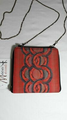 Maasai Accents®, Kitenkela beadwork print , sqaure sling. Abstract beadwork polyester canvas square sling bag, with Kitenkela Maasia beadwork print