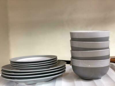 Ceramic Dinner set 12PC Set ,4pcs Dinner Plates,4 Bowls,4 side plates or 4 mugs