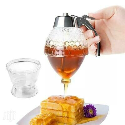 Honey Dispenser No Drip Glass with Stainless Steel Top - Syrup Dispenser Glass - Beautiful Honey Pot - Honey Jar with Stand
