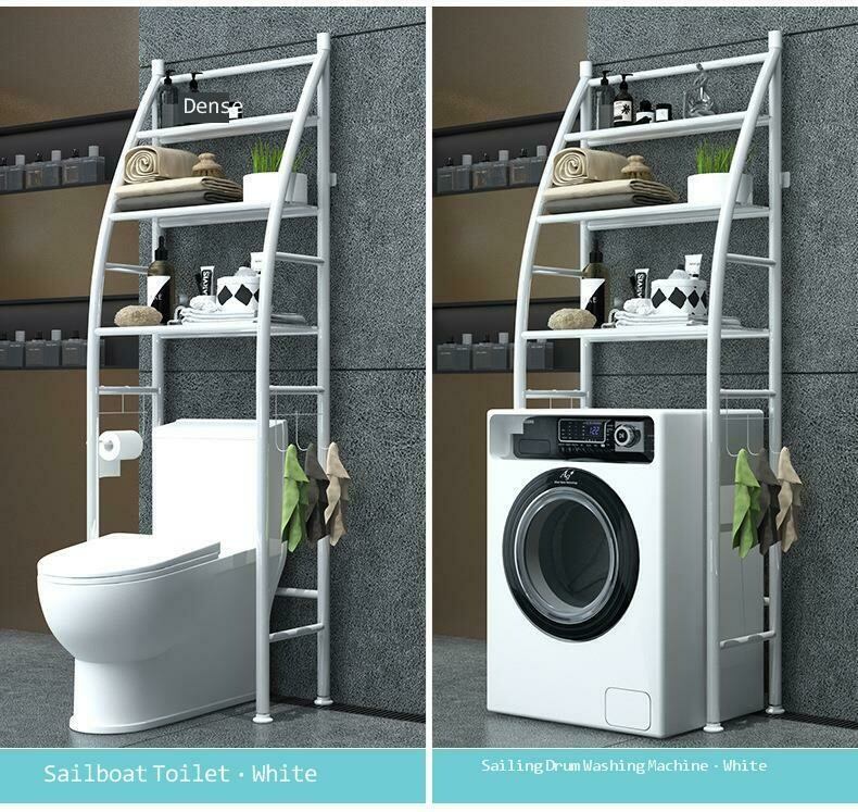 Bathroom organizer Racks and Shelves Over-The-Toilet Cabinet, 4 Tier Metal Shelving Unit ,White 18X25cm