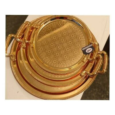 Tray/Platter with Golden Design and Handle 3 piece set  | Best for Home Decor and Festival | Special Tray for Tea and Water