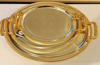 Gold silver Tray/Platter with Golden Design and Handle 3 piece set| Best for Home Decor and Festival | Special Tray for Tea and Water |Tray(Silver,Gold)