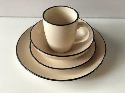 Ceramic dinner set 16 piece with 4bowls,4sideplates, 4mugs, 4dinner plates -K5