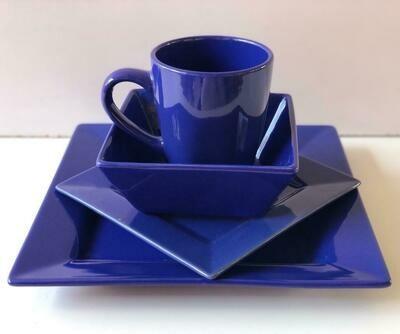 Ceramic dinner set 16 piece with 4bowls,4sideplates, 4mugs, 4dinner plates-K24