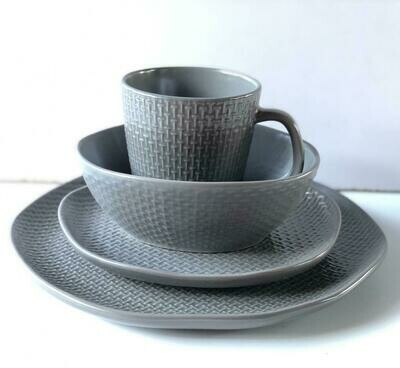 Ceramic dinner set 16 piece with 4bowls,4sideplates, 4mugs, 4dinner plates K49