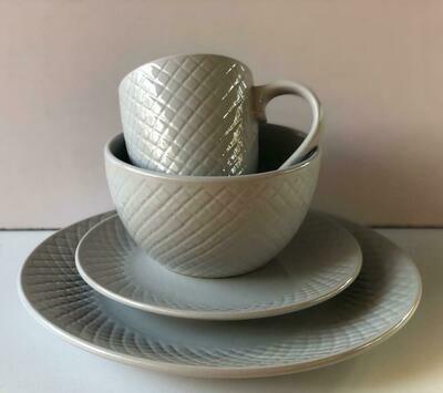 Ceramic dinner set 16 piece with 4bowls,4sideplates, 4mugs, 4dinner plates K50