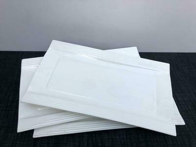 Porcelain 3 piece set Serving Platters Rectangular Trays White Serving Platters for Party, Stackable Set 40x23cm -A4
