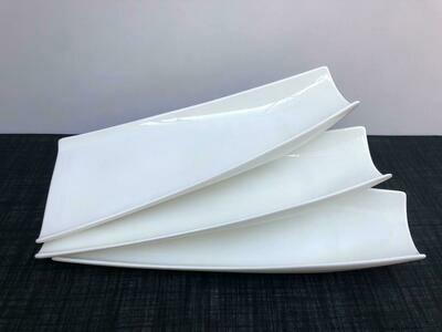 Porcelain  3 piece set ,Serving Platter White Serving Tray Decorative Centerpiece -A15 15.5
