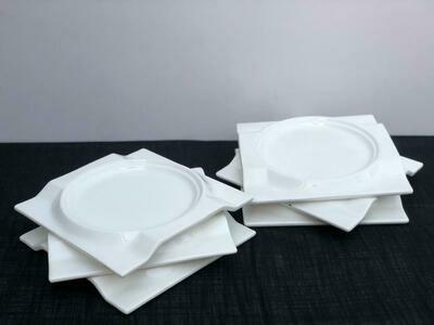 Dessert Plates 6 piece set Ceramic White Serving Plates/Appetizer/Salad Plate- Dinnerware Dishes Set for Snacks, Side Dishes -Serving Plate Set of 6 7.5