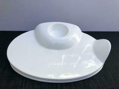 Heavy Ceramic 2 piece set platter plate with a sauce/salsa/salad compartment 18