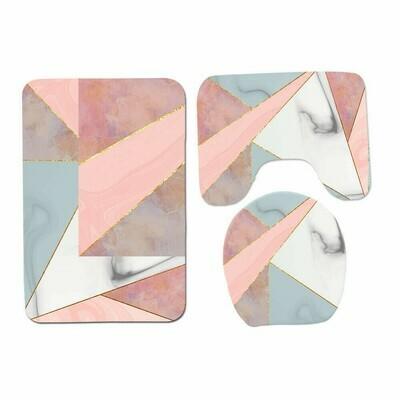 3Piece Set Anti-Slip Bathroom Mat-pink,Gold,blue