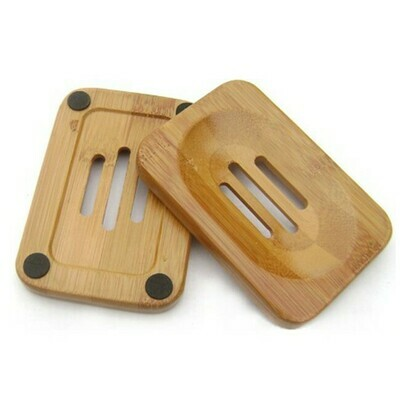 2 piece Wooden Soap Holders Bathroom Soap Dish Natural Bamboo Soap Holder Square, with anti skid