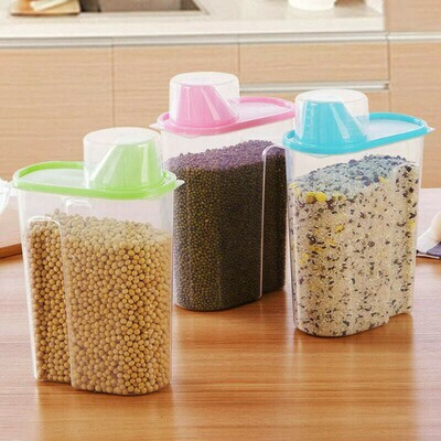 Dry Food Storage Containers Cereal Jars  Locked Lid For Rice Dispenser, Coffee, Pet Food 1.9L