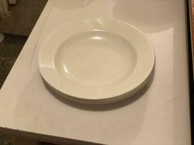 Melamine white deep soup plates 10 inch diameter (6 pcs set)