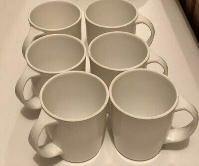 Melamine white tea mugs 6 pcs set