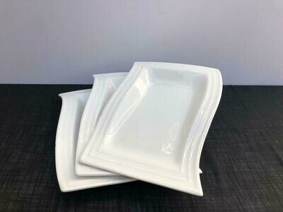 Dessert Plates 3piece set Ceramic White Serving Plates/Appetizer/Salad Plate- Dinnerware Dishes Set for Snacks, Side Dishes: A31 9