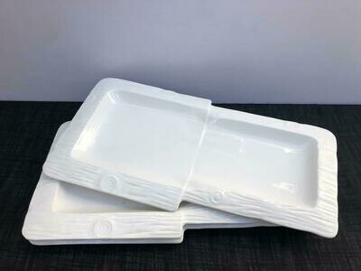 Porcelain Large Divided Dinner Plates Or Platters Set of 2 Dinnerware For Entertaining, Dining Or Parties, White Colors.