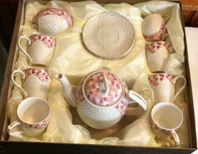 Porcelain Tea Set - Tea Cup and Saucer Set Service for 6, with 28 oz Teapot Sugar Bowl ,Cream Pitcher
