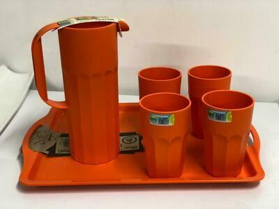 Mintra water juice lemonade tumblers set 4 tumblers pitcher jug and unbreakable  tray