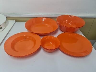 Mintra plastic dinner curly dinner set. 15 pcs 4 plates 9.8