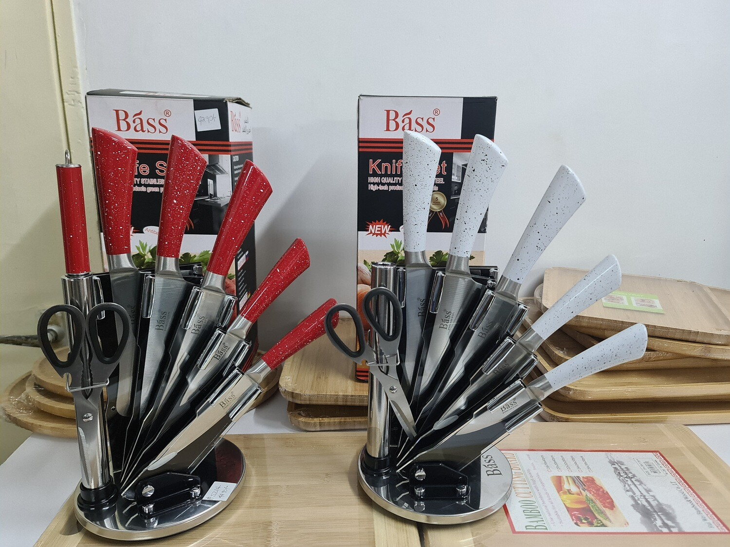 Bass Knife set 7pcs aesthetic rotating stand #5214 set of durable knives kitchen tools