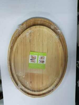 Bamboo charcuterie board food tray Oval. Breakfast tray 25X33cm