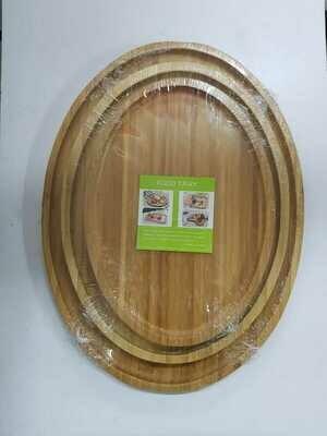 Bamboo chercuturie board food tray Oval set of 2 30X40cm & 25x33cm